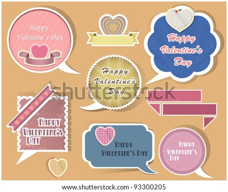 Collection of speech bubbles valentine's day vector