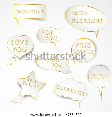 Collection of speech bubbles with slogans. Easy to edit vector illustration. - stock vector