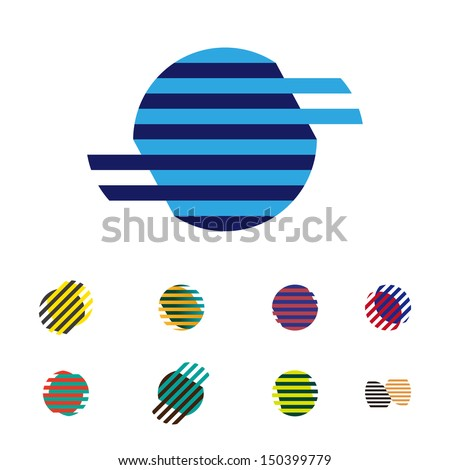 Collection of sphere vector logo set. Abstract globe symbol, isolated round icon, business concept .You can use science and technology, tourism, global financial or environmental background.  - stock vector