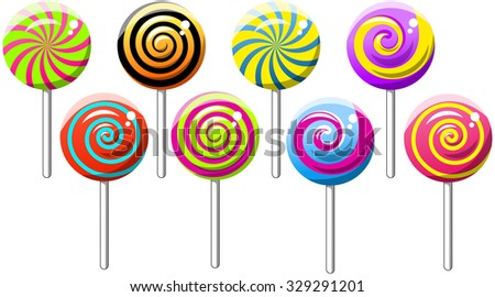 Collection of Spiral Swirly Lollipops isolated - stock vector