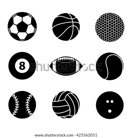Collection of sport ball icon blank and white vector illustration