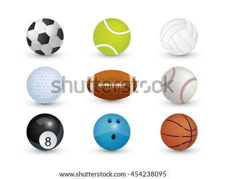 Collection of sport balls isolate on white background (Vector eps10)