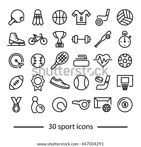 collection of sport line icons - stock vector