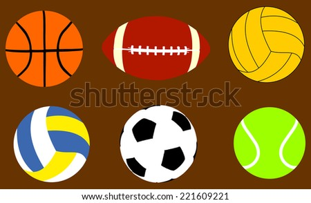 Collection Of Sports Balls Vector Illustration isolated on background.