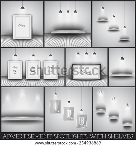 Collection of spotlights and shelves for product advertisement, shop simulations, item promotions, packaging show and so on - stock vector