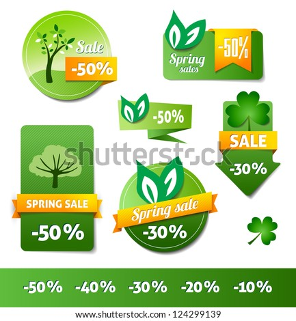 Three Spring Sales Labels Price Tags Stock Vector 170560268 ...