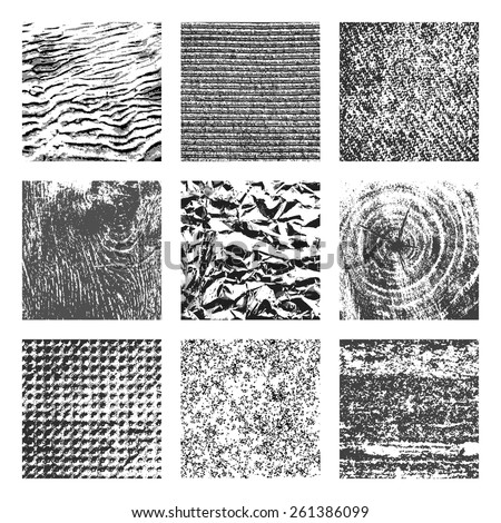 Collection of 9 square black and white brutal grunge background textures of sand, canvas, foil, wood and stone - stock vector