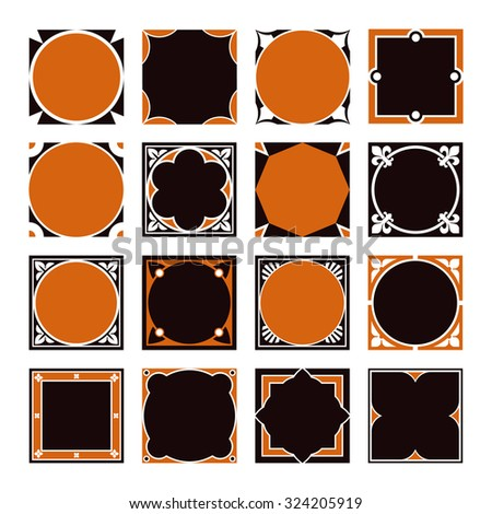 Collection Of Square Decorative Border Frames With Solid Filled
