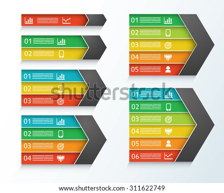 Collection of statistical charts with six different sizes - stock vector