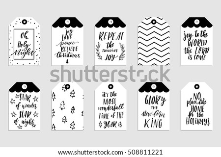 Collection stylish black white gold new stock vector 508811221 collection of stylish black white gold new year and christmas gift cards set of printable m4hsunfo