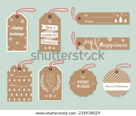 Collection of stylish New year and christmas gift tags. Vector illustration - stock vector