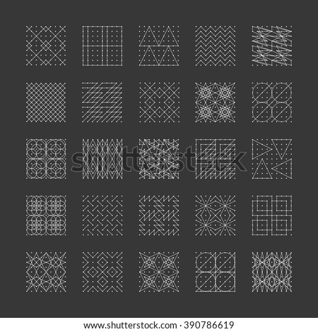 Collection of 25 stylish Shapes. Signs,Logo,Elements,Labels,Badges,Sacred Design Elements.Sacred geometry.Monogram.Template for design.Trendy linear,Hipster style.Vector illustration.Isolated on black