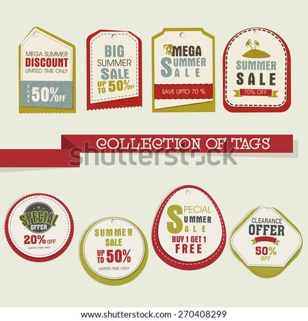 Collection of stylish tags or labels for Mega Summer Sale with flat discount offer. - stock vector