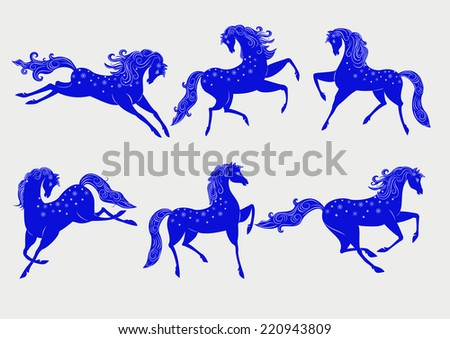 Collection of stylized blue horses, a symbol of 2014
