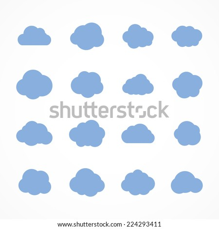 Collection of stylized fluffy cloud silhouettes. Isolated on white background. Vector illustration, eps 8. - stock vector