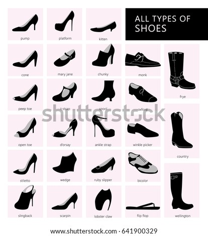 Collection Summer Autumn Winter Shoes Set Stock Vector ...