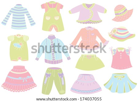 collection of summer children's clothing - stock vector