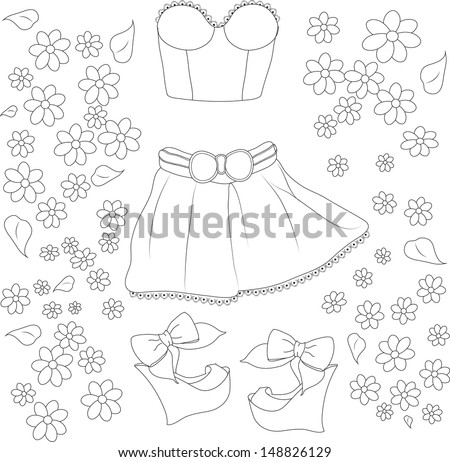 collection of summer clothes - stock vector