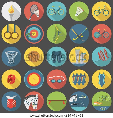 Collection of summer sports vector flat icons, part 2 - stock vector