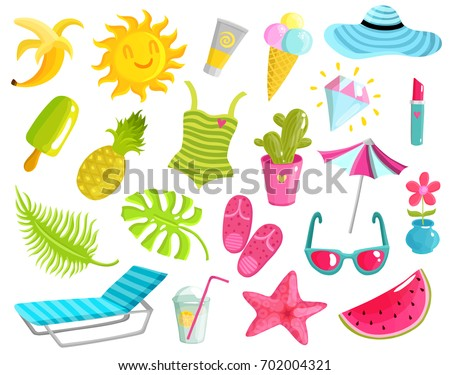 Collection Summer Stuff Including Beach Accessories Stock ...