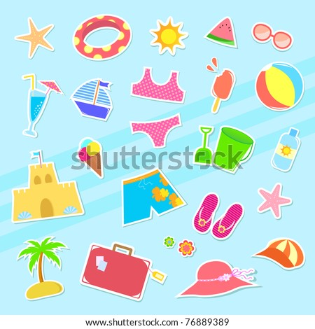 collection of summer symbols - stock vector