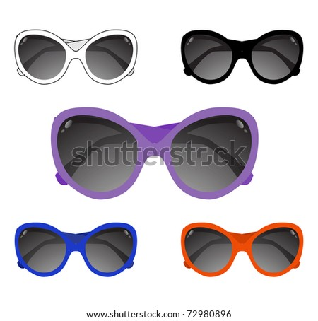 Collection of sun glasses. Vector illustration - stock vector