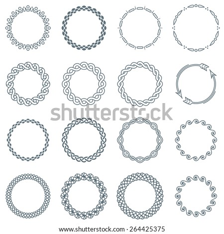 Collection of 16 Symmetric Round Decorative Frames and Labels with Curves, Twists and Decorative Elements  - stock vector