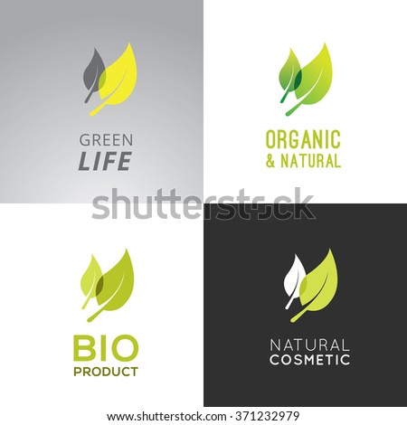 Collection of tags for organic products. Graphic design elements with text and different color combinations. Creative ideas for labels.