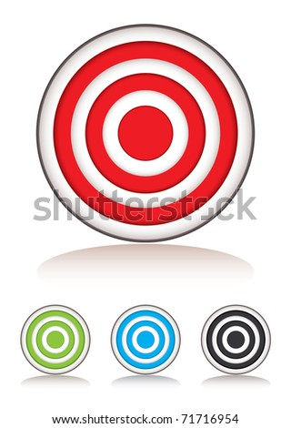 Collection of targets with selection of colors and shadow - stock vector