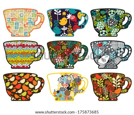 Collection of tea cups with different patterns. Vector illustration. - stock vector