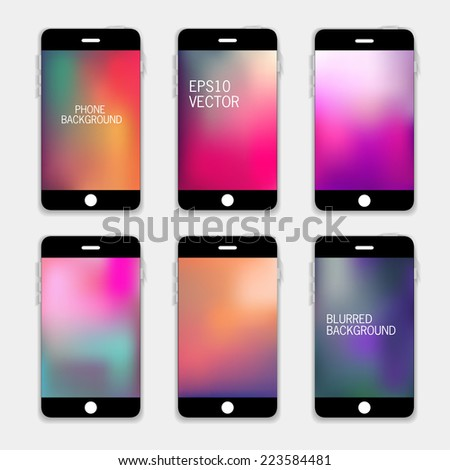 Collection of Technology Wallpaper Designs. Set of Mobile Phones Blurred Backgrounds.  Abstract Vector Illustrations. - stock vector
