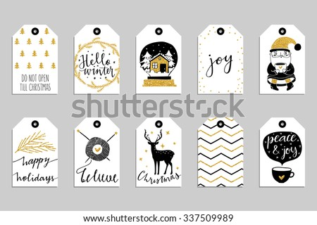 Collection of ten gold texture Christmas and New Year cute ready-to-use gift tags. Set of 10 printable hand drawn holiday label in black white and gold. Vector seasonal badge design