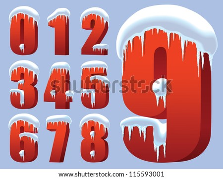 Collection of ten red numbers under snow - stock vector