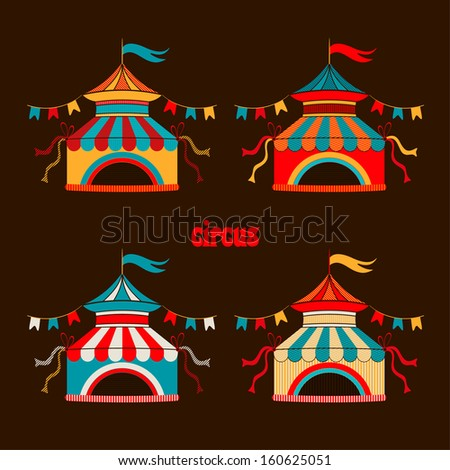 Collection of tents for the circus - stock vector
