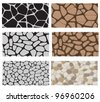Collection of the building wall texture. Stone cladding, sidewalk, pavement. Endless pattern. - stock vector