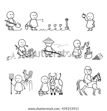 Collection of the farm doodles. Vector big set.