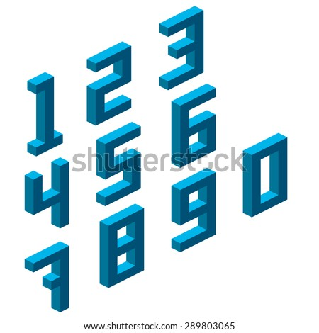 Collection of the isometric numbers. Vector illustration - stock vector
