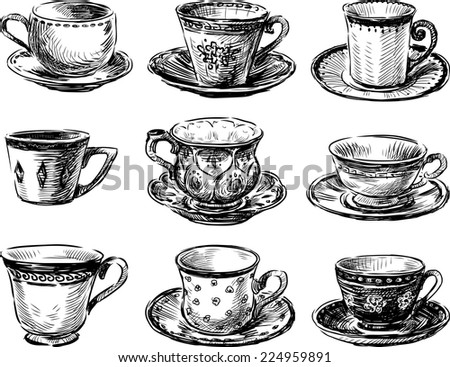 collection of the teacups - stock vector