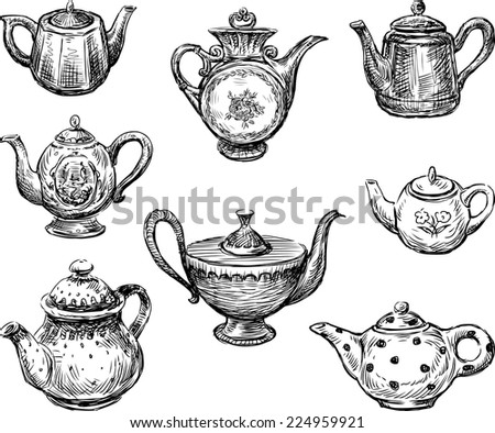 collection of the teapots - stock vector