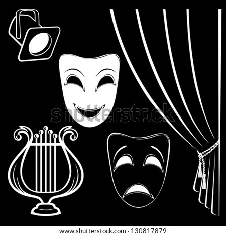 Collection of theatrical characters on black background - stock vector