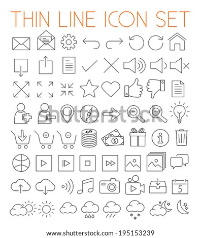 Collection of thin line modern vector icons. - stock vector