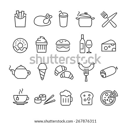 Collection of thin lines icons representing food and cooking. Suitable for print, web or mobile apps design. - stock vector