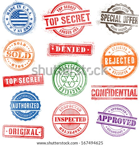 Collection of Thirteen Hi detail commercial grunge multicolored stamps - stock vector