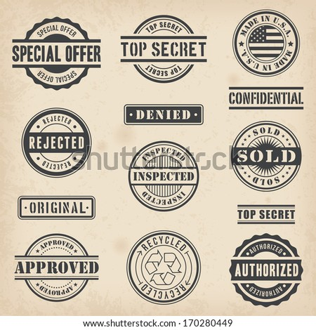 Collection of Thirteen Hi detail commercial stamps - stock vector