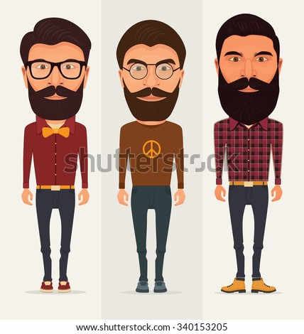 Collection of three characters with beard - Hipster, Lumberjack, Hippie - stock vector