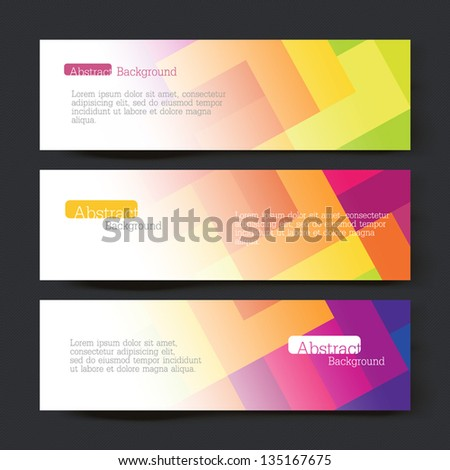 Collection of three colorful banner designs, vector illustration, EPS10 - stock vector