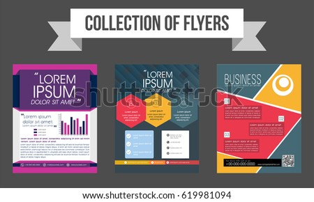 Collection Three Creative Flyers Templates Design Stock Photo Photo