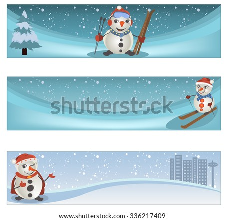 Collection of three different winter banner set - stock vector