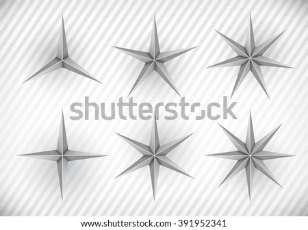 Collection of three, four, five, six, seven and eight pointed stars - stock vector