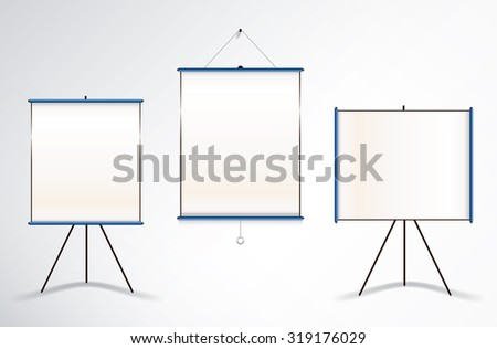 Collection of three vector illustrations of projector wall and tripod screens - stock vector
